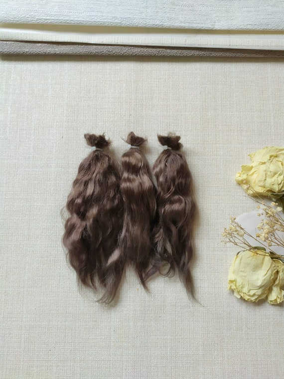 graphite Mohair doll hair Hair locks for dolls Mohair wig