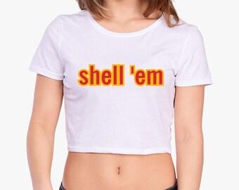 Shell 'Em Cropped Tee