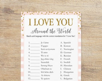 I Love You Different Languages, Bridal Shower Game, How To Say I Love You, Gold Blush Pink, Around The World, Game PG Instant Download