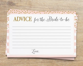 Advice for the Bride, Bridal Shower Advice Cards, Printable Advice Sign, Wedding Shower Activity, Blush Pink Gold, PG, Instant Download
