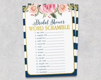 Blue Gold Bridal Games, Word Scramble, Bridal Shower Printable, Word Game, Floral, Dark Blue White Stripe, Pink Flowers, NG Instant Download