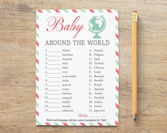 Baby Around The World Game, Baby Different Languages, Travel Baby Shower Games, Girl Boy, Traveling, Coral Pink Mint, TP Instant Download