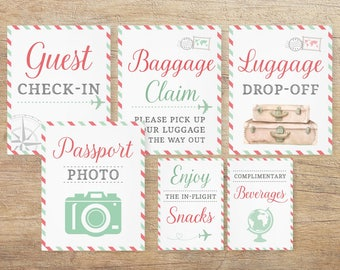 travel signs airplane theme baby shower airline bridal decor travel wedding decorations birthday printable pink mint tp pt download