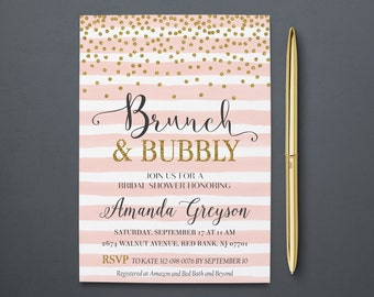 brunch and bubbly invitation bridal shower brunch invite elegant gold invites blush pink white stripes confetti glitter pg printable