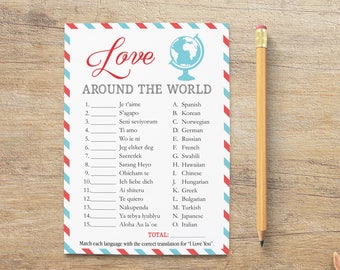 Love Around The World Game, I Love You Different Languages, Travel Bridal Shower Games, Blue Red World Theme, Digital, RT Instant Download