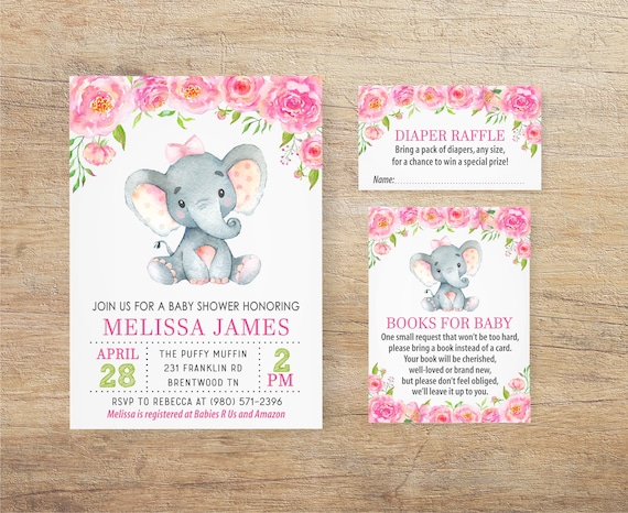 Elephant Baby Shower Invitation Girl Girl Elephant Invites Etsy