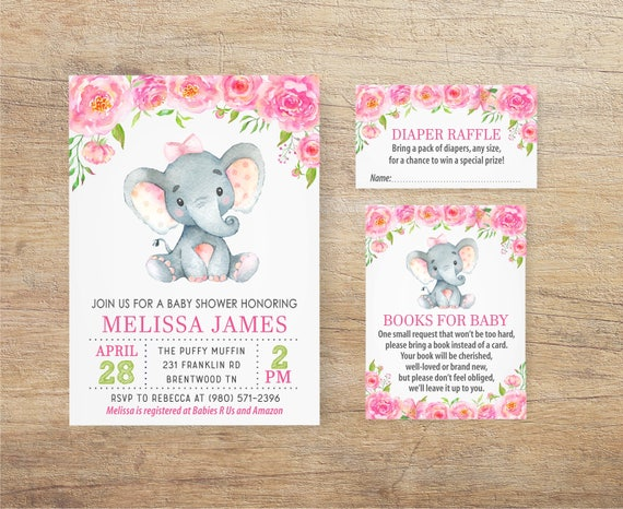 Elephant baby shower invitation girl girl elephant invites etsy image 0 filmwisefo