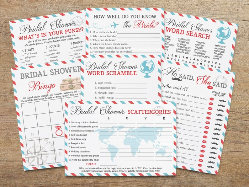 picture about Bridal Shower Printable Games called Drive Bridal Shower, Printable Video games Package deal, Recreation Preset, Touring Topic Deal, Functions, Entire world, Bingo Playing cards, Scattergories, RT Down load