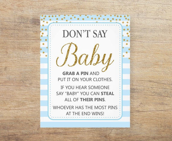 Blue And Gold Don T Say Baby Blue Baby Signs Clothespin Etsy