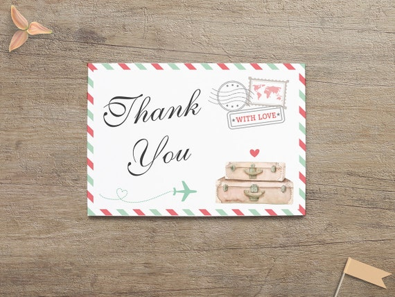 travel thank you card traveling theme bridal baby shower etsy