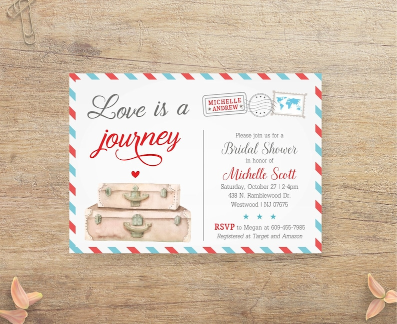 5059c0eb7b4 Travel Bridal Shower Invitation Love is a Journey Airplane