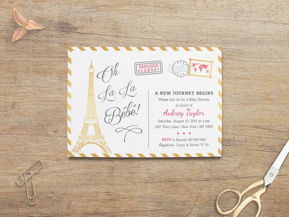 Paris Baby Shower Invitation Travel Theme Baby Girl Invites Etsy