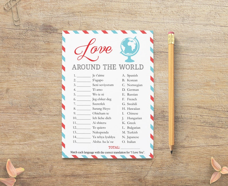 Love Around The World Game I Love You Different Languages Etsy