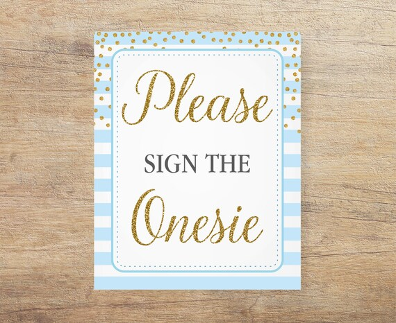 60437b950fb8b Blue Onesie Sign, Sign the Onesie, Blue and Gold, Blue Gold Baby ...