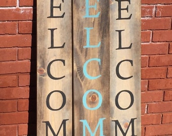 WELCOME front porch sign hand painted wood sign