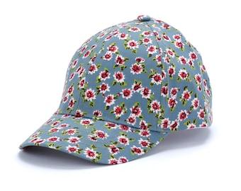 6c48b6b338d Vintage Floral Baseball Cap - Blue
