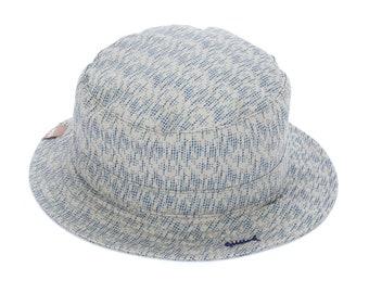 Vintage Style Bucket Sun Hat with Fishbone Marking - Ash Grey