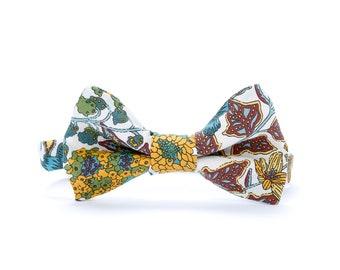 Exotic Floral Bow Tie - Multicolor Mustard