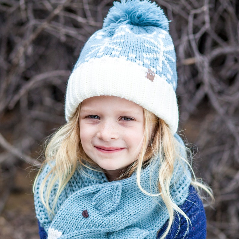 - Frost Blue thick jacquard knit Snowflake Pompom Beanie Mittens Set