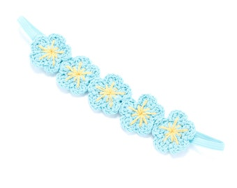 Girls Crochet Flower headband- Blue