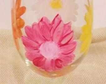 1 Daisy Glass with multi colors on each daisy