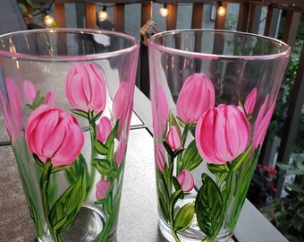 1 Hand painted Pink Tulip 16oz Water Glass