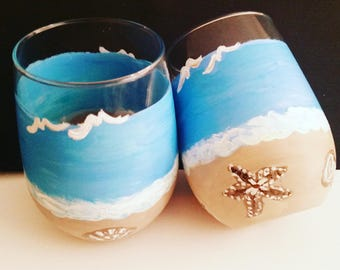 2 Tropical Beach Stemless 17 once Wine Glasses custom Hand painted with the Beach Ocean Seashells and Seagulls A Fun Day at the Beach