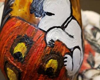 6 Halloween Orange With Gold specks Stemless Wine Glasses 6 Different Hand Painted Custom Halloween Designs