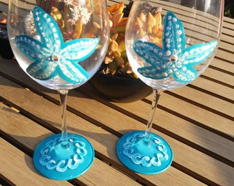 2 Turquoise Starfish Red Wine Glasses With Australian Crystals