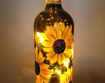 Sunflower Bottle Original Handpainted Light up Wine Bottle With 3 Battery operated lights included
