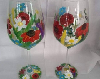 2 Wild Flower Hand Painted Crystal Wine Glasses