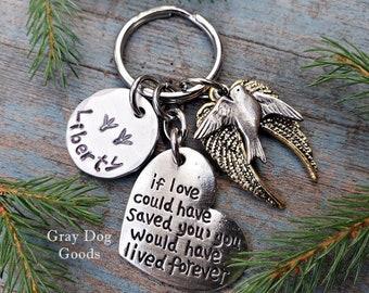 Bird Memorial Key Chain, Bird Remembrance Gift, Pet Bird, Bird Sympathy Gift, Pet Memorial Key Chain