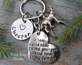 Wolf Memorial Key Chain, Wolf Remembrance Gift, Wolf Dog, Pet Wolf, Wolf Sympathy Gift, Pet Memorial Key Chain