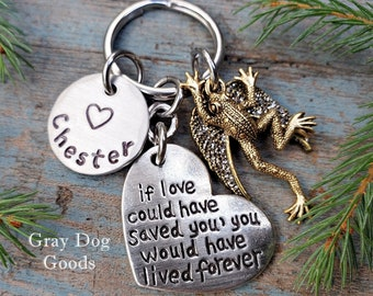 Frog Memorial Key Chain, Frog Remembrance Gift, Loss of Frog, Frog Sympathy Gift, Pet Frog, Pet Memorial Key Chain
