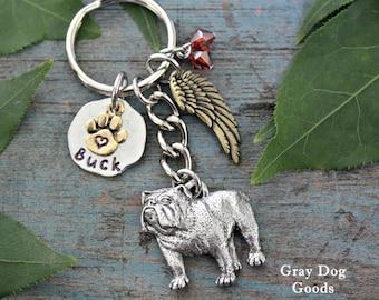 Bulldog Memorial KeyChain, Pet Memorial Key Chain, Bulldog Key Chain, Bulldog Sympathy Gift, Read Full Listing Details