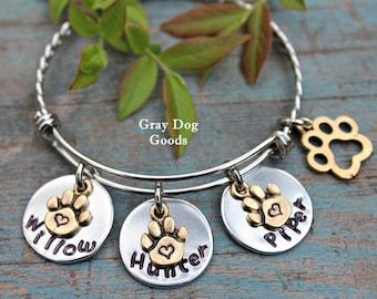 Dog Bracelet, Dog Mom Jewelry, Fur Baby Bracelet, Personalized Dog Bracelet, Paw Jewelry, Read Full Listing Details