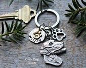 Weimaraner Keychain, Weimaraner Key Ring, Weimaraner Gift, Gray Ghost, Personalized Dog Keychain