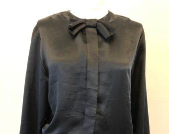 1980's black, shiny, gathered top/blouse, elasticated at back, bow at neck
