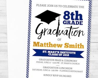 8th grade graduation invitations etsy 8 graduation promotion graduate class of 2018 8th grade blue gold boy personalized invitations filmwisefo
