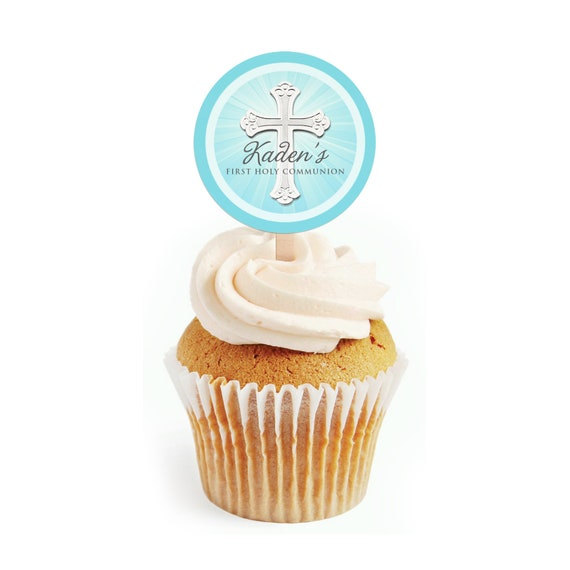 Personalised Cupcake Toppers-Blue- Christening Communion Confirmation Baptism