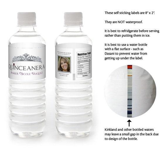 Quinceanera Water Bottle Labels Sweet 15 Birthday Water
