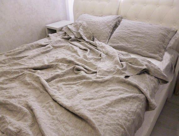 Grau Leinen Bettwäsche Natürliche Bettbezug Natürliche Etsy