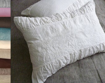 Linen Pillow Sham White Natural Gray Standard Queen King Euro Case Cover Organic Pure Flax