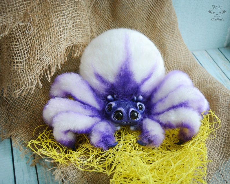 Purple fluffy spider Made to order image 0