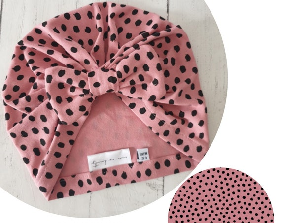 Baby Turban / Baby Hat / Girls Turbans / Kids Turbans - Pink Dots Organic Fabric - choose your style - Baby Shower Gift - Newborn Gift