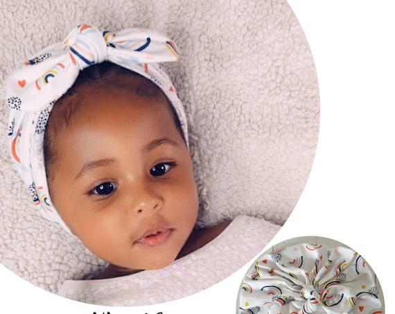 Baby Turban / Baby Hat / Girls Turbans / Kids Turbans - White Rainbows Organic Fabric - choose your style - Baby Shower Gift - Newborn Gift