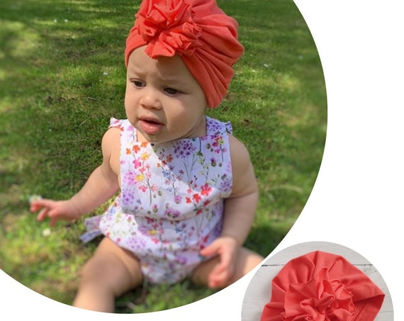 Baby Turban / Baby Hat / Girls Turbans / Kids Turbans - Salmon Pink Orange - choose your style - Baby Shower Gift - Newborn Gift