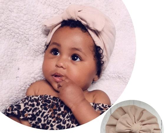 Baby Turban / Baby Hat / Girls Turbans / Kids Turbans - Sand Organic Fabric - choose your style - Baby Shower Gift - Newborn Gift