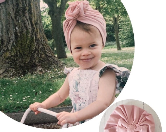 Baby Turban / Baby Hat / Girls Turbans / Kids Turbans - Dusty Rose Organic Fabric - choose your style - Baby Shower Gift - Newborn Gift