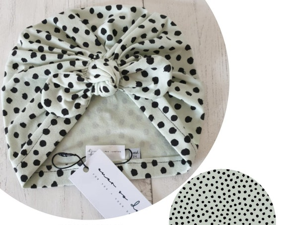 Baby Turban / Baby Hat / Girls Turbans / Kids Turbans - Mint Green Dots Organic Fabric - choose your style - Baby Shower Gift - Newborn Gift